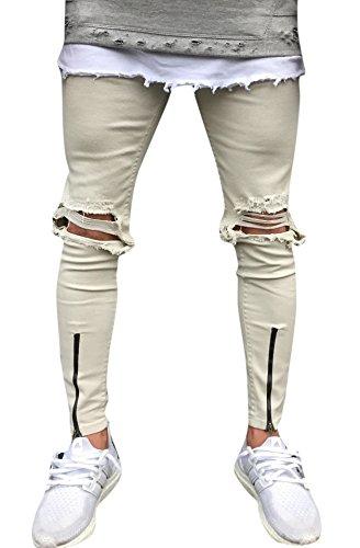 OKilr Pjik Men's Khaki Slim Fit Destroyed Ripped Skinny Denim Jeans With Zipper 32