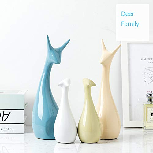 ASNOMY 4 Pack of Deer Family Originality Home Decoration Furnishing Animal Ornament Ceramics, Ceramic Statues Home Decor Ornament Figures (Four Deer Family)