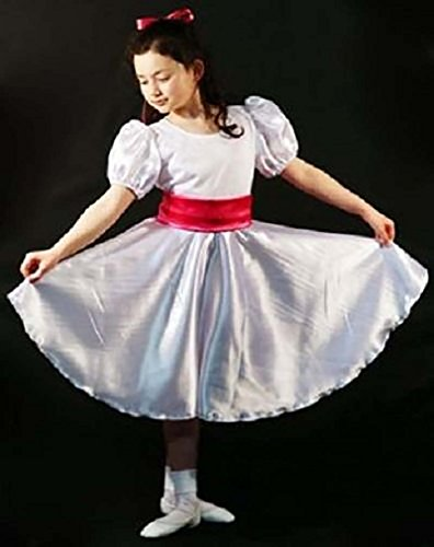 CL COSTUMES Dance-Victorian-CHITTY CHITTY Bang Bang-Truly Scrumptious White Satin Dress With Red Sash - All Ages (Age (Von Trapp Children Costumes)
