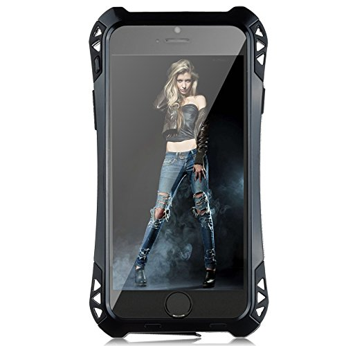 5IVE Slim Shockproof Military Case Cover with Glass Screen Protector Support Fingerprint Identification for iPhone (Black, for iPhone 5/5S)