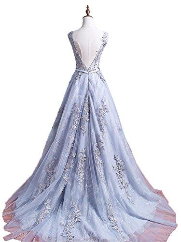 Langes Blau A Rock Ballkleider Linie Prinzess Abschlussballkleider Abendkleider Damen Rock Spitze Partykleider Charmant w70pTxz