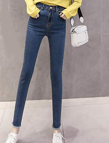 YFLTZ Light Femme Unie Jeans Pantalon Haute Plus Taille Basique Blue Couleur Taille RrvZRqUCwx