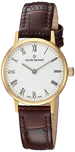 Claude Bernard womens 20215 37J BR Slim Line Analog Display Swiss Quartz Brown Watch