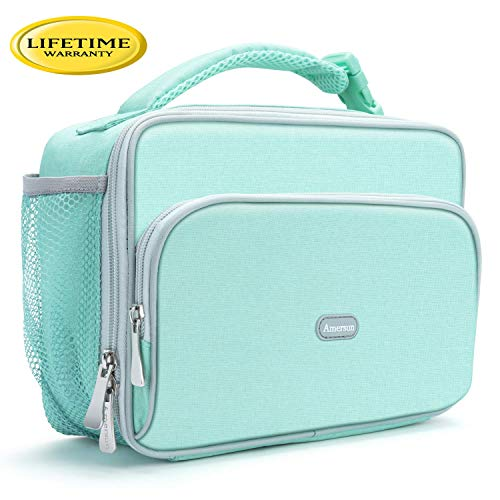 (Amersun Kids Lunch Box,Durable Insulated School Lunch Bag with Padded Liner Keep Food Hot/Cold for Long Time,Small Water-resistant Thermal Travel Office Lunch Cooler for Girls Boys-2 Pocket,Light Blue)