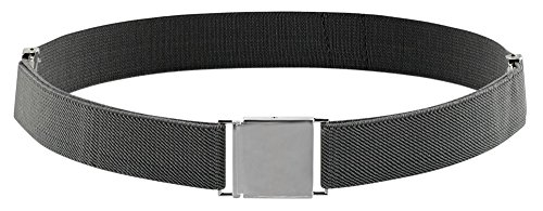 Toddler Adjustable Elastic Belts (Belt for Kids and Toddlers Elastic Adjustable Strech Boys Belts With Silver Square Buckle (Grey))