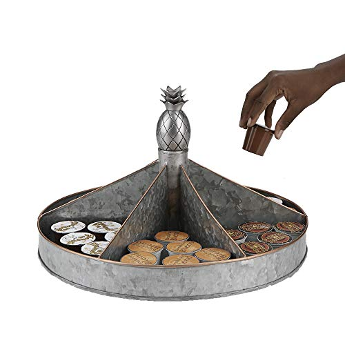 Mind Reader SIL Galvanized, Spinning Lazy Susan, Rotating Organizer, Thick Single Turntable, One Size, Silver Pineapple
