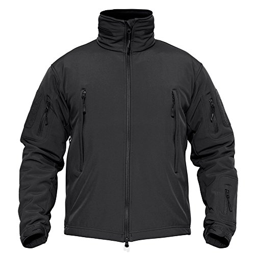 TACVASEN Men's Tactical Concealed Hooded Softshell Fleece Military Jacket Coat