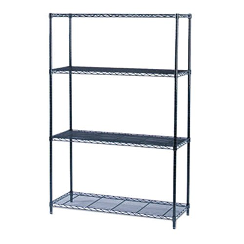 TableTop King 5291BL Black 3 Shelf Industrial Wire Shelving Kit - 48'' x 18'' x 72'' by TableTop King