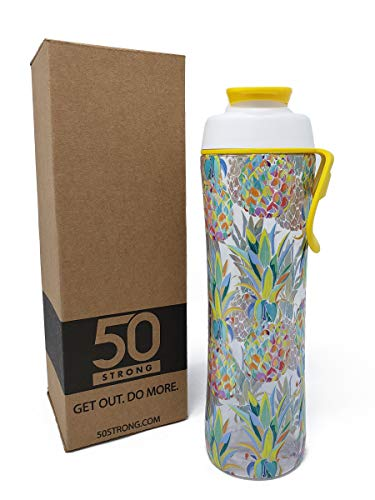 BPA Free Designer Reusable Water Bottle with Premium 360 Degree Print - Available in 2 Sizes and 20+ Styles - Made in USA (Pineapple, 24 oz.)