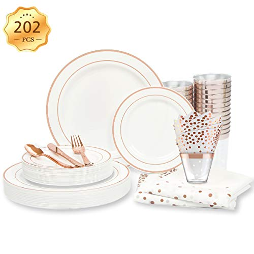 ENUOSUMA Rose Gold Dinnerware Set for 25 Guests [202pcs] Rose Gold Plastic Plates for Party | Disposable Wedding Rose…