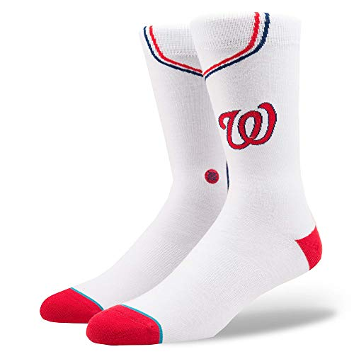 Stance Men's MLB Stadium Socks (L (9-12), Nationals Home - White)