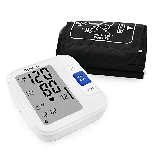 Blood Pressure Monitor Upper Arm by Alcedo| Automatic Digital BP Monitor with Wide-Range Cuff for Home Use | Large Screen, 2x120 Reading Memory, Talking Function | FDA Approved (Best Blood Pressure Range)