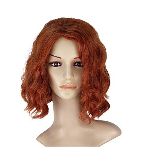 Black Widow Wig for Women - Bob Wigs Human Hair Short Curly Avengers Black Widow Cosplay Costume for Lady Brown