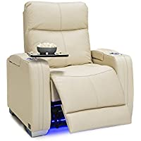 Seatcraft Solstice Leather Power Recliner with Power Lumbar Support, Adjustable Powered Headrests, and Built-In SoundShaker, Cream