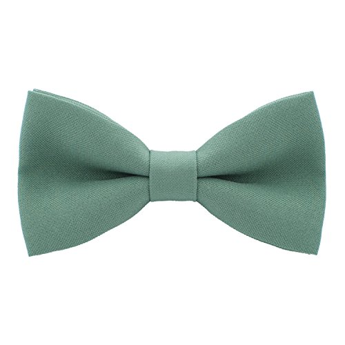- Classic Pre-Tied Bow Tie Formal Solid Tuxedo, by Bow Tie House (Large, Green Fern)