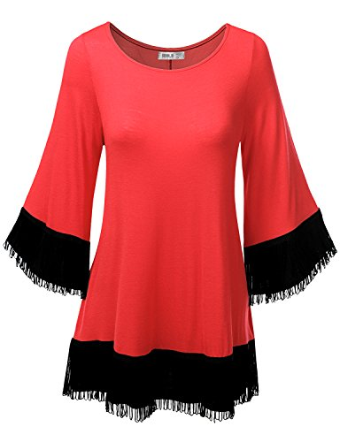 SJSP Long Sleeve Fringe Detailed Round Neck Loose Fit Tunic Top Coral XL