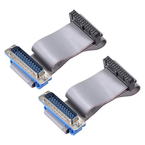 uxcell IDC Wire Flat Ribbon Cable DB25 Male to FC-26 Female Connector 2.54mm Pitch 20cm Length, 2pcs ()
