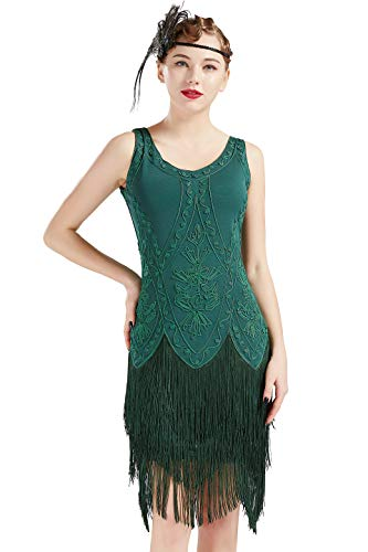 (BABEYOND 1920s Flapper Dress Roaring 20s Great Gatsby Costume Dress Fringed Embellished Dress (Green, M))