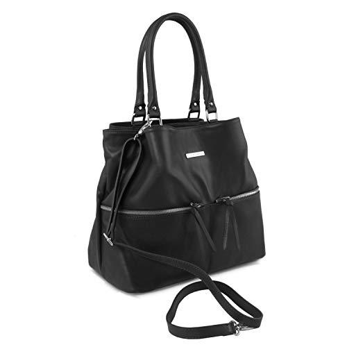 En Larga Bolso Asa Delanteros Leather Negro Bolsillos Con Tuscany De Piel Cognac Tlbag EwqXHEY