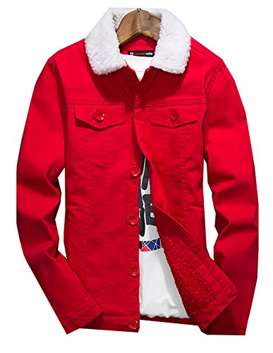 LifeHe Men's Winter Fleece Wool Blend Lined Denim Jacket Coats (M, Red)