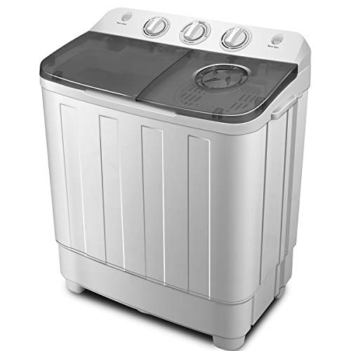 ZeoOne 17 LBS Mini Portable Compact Twin Tub Washing Machine, Washer and Dryer Combo for Apartments, Dorms, RV Camping Swim Suit Spinner Dryer, Grey