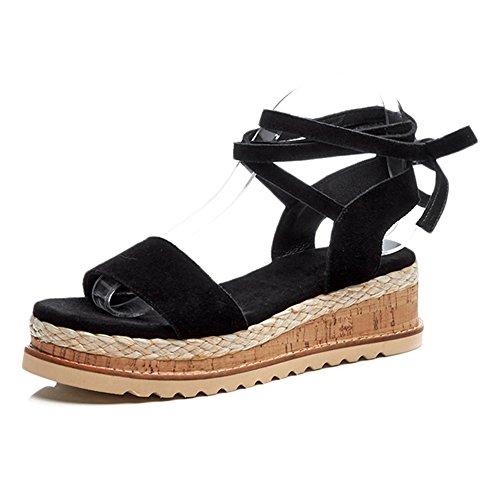KJJDE Zapatos con Plataforma Mujeres WSXY-L0625 Sandalias Mujer Zapatilla Chanclas de Moda Confort Peep Toe Tacón Zapatos Para Caminar Black