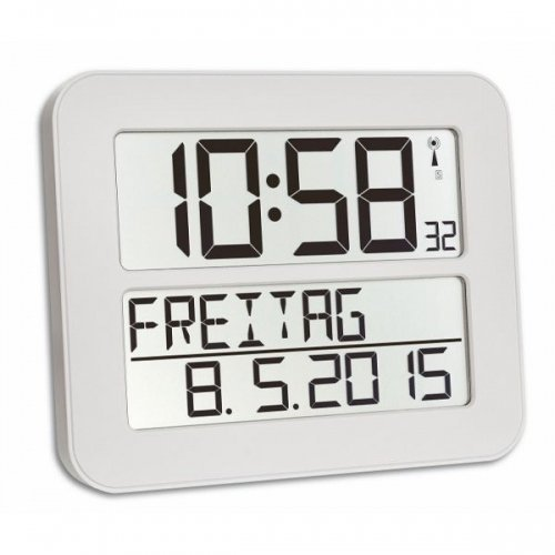 TFA Dostmann 60.4512 TimeLine Max radio Reloj de pared digital, blanco con baterías: Amazon.es: Hogar