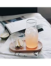 Bedside Water Carafe Set with Tumbler Glass,URMAGIC 2 Piece Water Pitcher and Cup Night Set(520 Bottle+250ml Cup),A Glass Teapot with A Single Cup,Clear Glass Water Carafe Set with Pour Spout