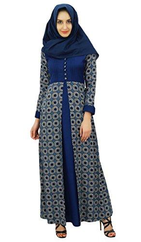 Bimba Femmes musulman Abaya Maxi robe imprim Jilbab avec Hijab Bleu