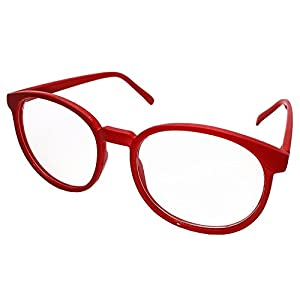 FancyG Retro Vintage Inspired Classic Nerd Round Clear Lens Glasses Eyewear - Red