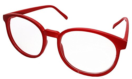 FancyG Retro Vintage Inspired Classic Nerd Round Clear Lens Glasses Eyewear - - Red Glasses Round