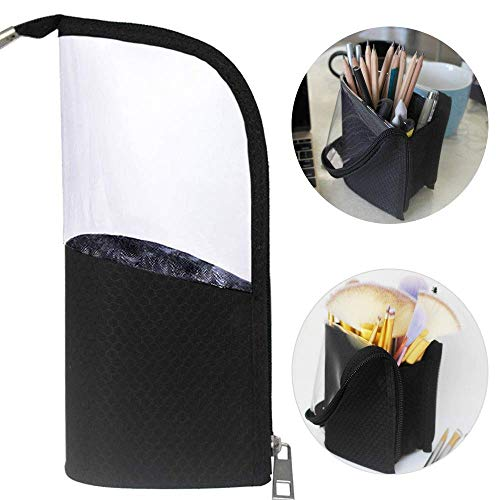 Black Travel Makeup Brush Holder, ANEMEL Pencil Pen Case Organizer Bag Clear Plastic Cosmetic Zipper Pouch Portable Waterproof Dust-Free Stand-Up Small Toiletry Stationery Bag with Divider (Brush Case)