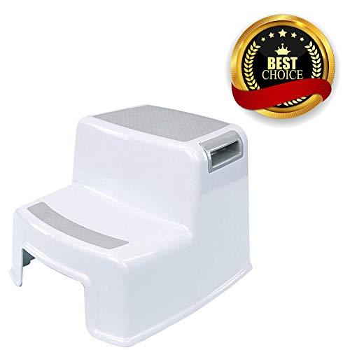 AOBETAK - Taburete para ninos de 2 niveles, plastico antideslizante, para aprender a ir al bano, banera, cepillarse los dientes, lavar las manos, color blanco