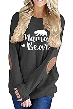 Pink Queen Women's Long Sleeve Mama Bear Printed Pachwork T-Shirts Black S