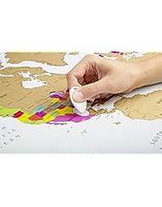 Mapa mundi para rascar | Colores vibrantes y textos en negrita | Mapa mundi rascar |Regalo para viajeros | Edición deluxe 60 cm (alto) x 90 cm (ancho) | Globetrotter scratch off world map