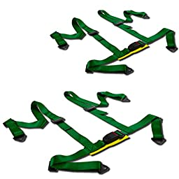 Universal Green Nylon 4-Point Racing Seat Belt Harness & Buckle (Pack of 2)