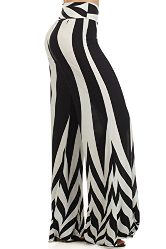 2LUV Women's Mix Print High Waisted Palazzo Pants, BlkWht-Stripe, Large (1970s Clothing For Women)