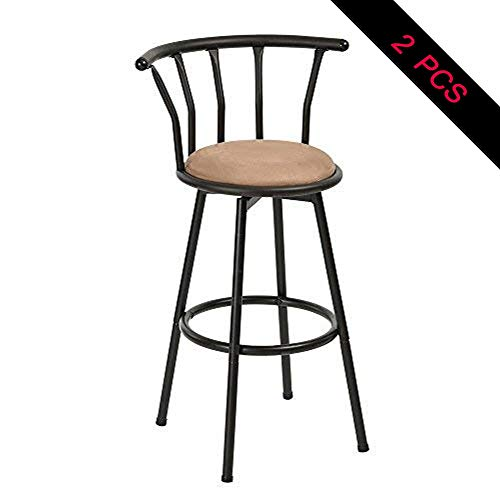 24' Iron Bar Stool - Barstools ☀ JBD Round Seat Bar Chairs Industrial Style Swivel 24'' Height Bar Stool Cast Chic Bar Stools 0626A