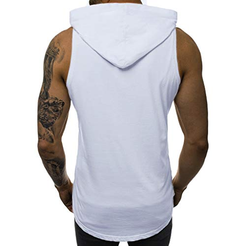 SERYU Men's Hole Vest Splicing t Fake Two Patchwork Sleeveless Contrast Hoodie