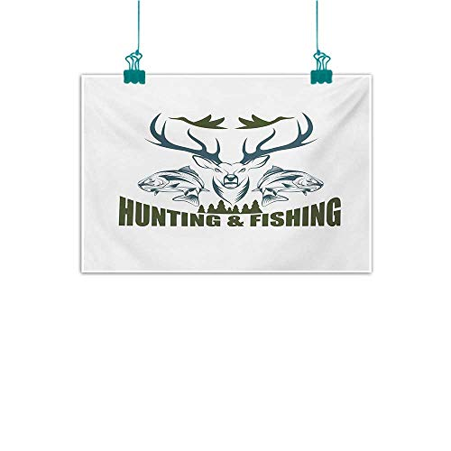 (Mdxizc Frameless Decorative Painting Hunting Artistic Animals Emblem Moose Head Horns Trout Salmon Sea Fishes Natural Art W35 xL31 Olive Green Slate Blue White )