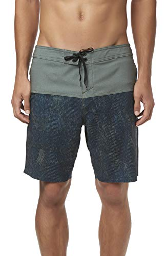 - O'Neill Men's Water Resistant Hyperfreak Stretch Swim Boardshorts, 19 Inch Outseam (Navy/Nomad, 32)