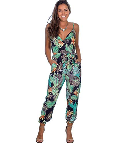 Longwu Women's Sexy Sleeveless Jumpsuit Flower Printed Overall V Neck Romper Spaghetti Straps Playsuits with Pockets Darkblue-XL