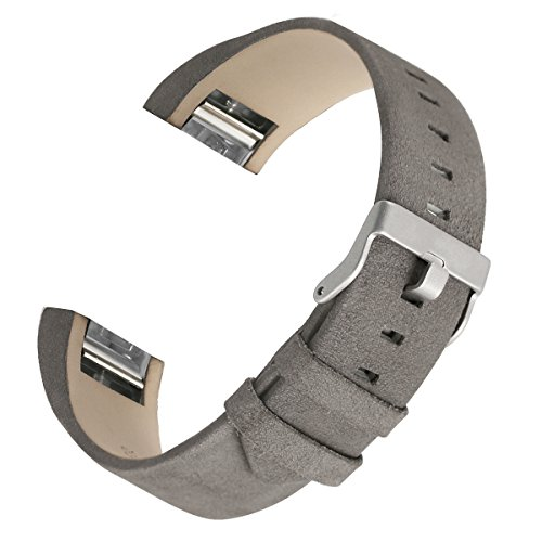 bayite Leather Bands Compatible Fitbit Charge 2, Replacement Accessories Straps Women Men, Suede Gray