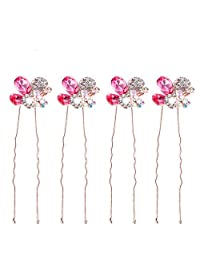 4PCS Bridal Wedding Crystal Hair Pins Bridal Prom Clips