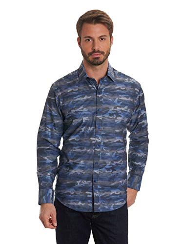 Robert Graham Camo Printed Striped L/S Sport Shirt Tailored Fit Blue XLarge ()