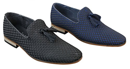 Mocassins Noir cuir avec doublure rétro style en ou en homme bleu noir pampille décontracté chic UrH6fUqtnW