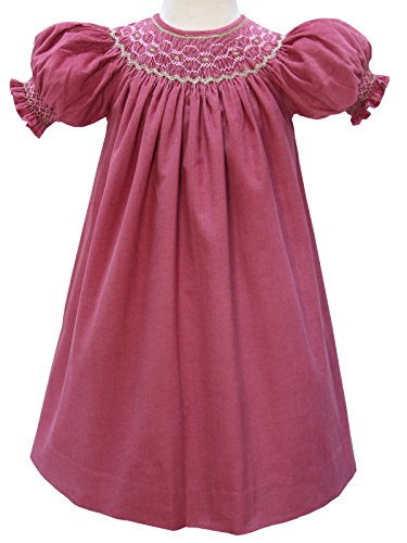 (Girls Hans Smocked Holiday Bishop Dress Rose Pink Pinwale Corduroy)
