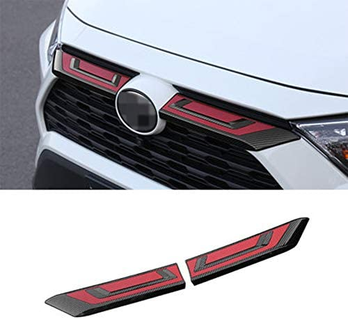 XITER 2PCS ABS Carbon Fiber Car Exterior Automobile Front Hood Grill Cover Bonnet Trim Decorative Strip Grille Cover Molding Insert Accessories For Toyota RAV4 2019-2020 (Carbon Fibre RED)