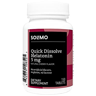 Amazon Brand - Solimo Quick Dissolve Melatonin 5mg, Natural Cherry Flavor, 150 Tablets, Five Month Supply