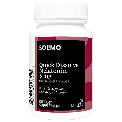 Amazon Brand - Solimo Quick Dissolve Melatonin 5mg, Cherry Flavor, 150 Tablets, Five Month Supply